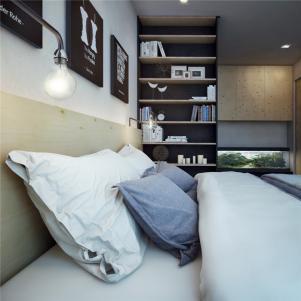 小户型大空间卧室书柜