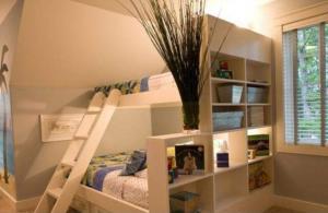 转角小户型儿童房双层床效