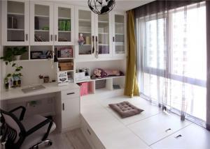 小房间榻榻米书桌书柜三体