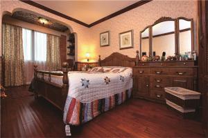 中式实木床梳妆柜组合