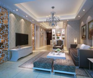 两居室简欧风格电视背景墙