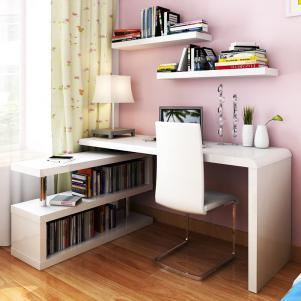 家庭书桌书架组合电脑桌