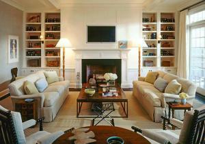 客厅书柜壁炉设计