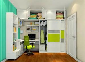 卧室转角书桌加衣柜设计效