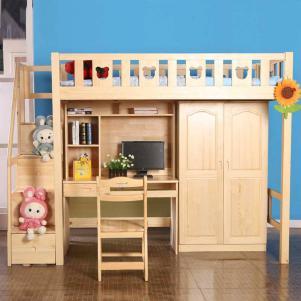 实木儿童床书桌套装组合
