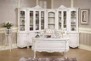 欧式书桌书柜组合白色储物