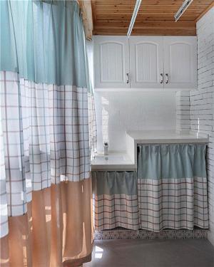 洗衣机放阳台效果图帘子装