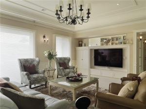 美式实用客厅电视墙效果图