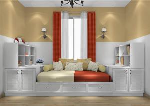 飘窗与书柜榻榻米组合的卧室装修榻榻米