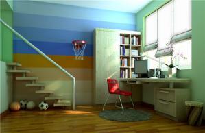 儿童书房装修设计转角书桌定制
