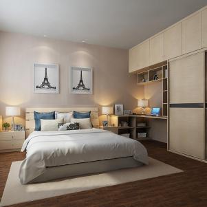 卧室转角书桌加衣柜卧室床