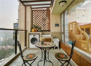 异国风情洗衣机放阳台效果