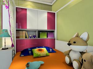 榻榻米书柜3D效果图