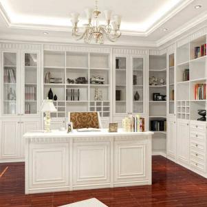 欧式书桌书柜组合木质整体