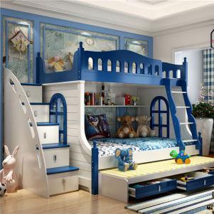 男孩儿童房设计上下床高低