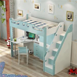 儿童房设计上下床带衣柜的