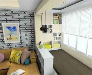 客厅沙发与客厅榻榻米之间