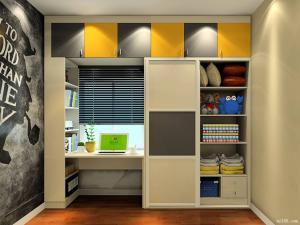 儿童房书柜书桌衣柜一体化