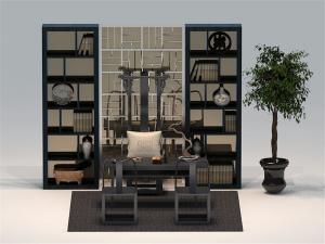 新中式书柜装饰架