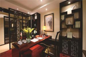 中式书桌书柜组合效果图大