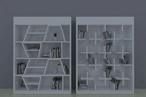简约创意书柜效果图大全2