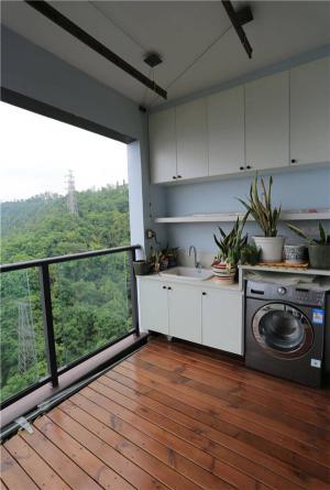 洗衣池与洗衣机放阳台效果