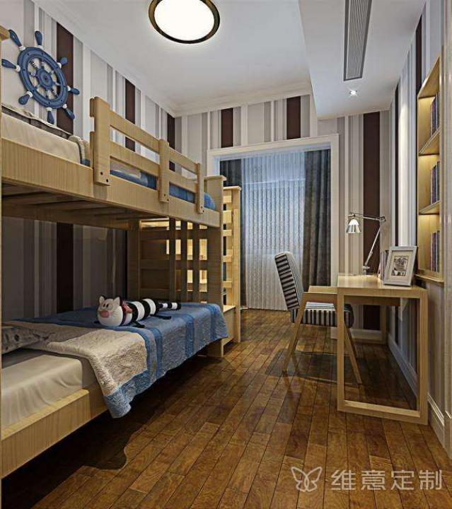 两室一厅的儿童卧室高低床装修效果图