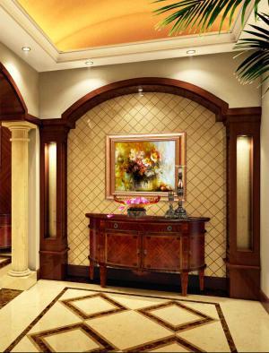 中式别墅家庭装修玄关效果