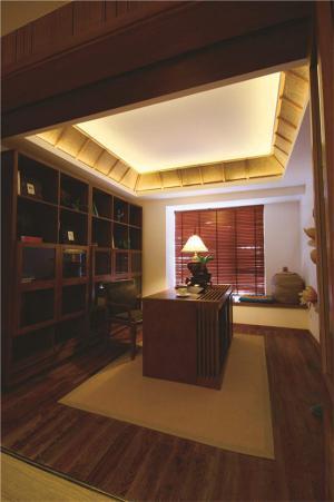 中式开放式书房装修效果图