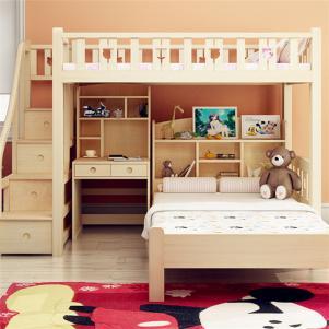 小户型上下床装修带衣柜的高架床