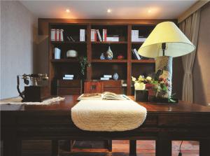 书桌书柜组合效果图组合搭