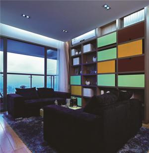 创新设计撞色搭配客厅书柜