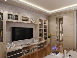 卧室电视书柜一体效果图