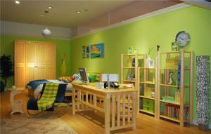 绿色涂漆儿童房背景墙