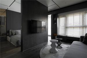 开放式公寓黑白色卧室电视
