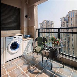 高层楼房洗衣机放阳台效果