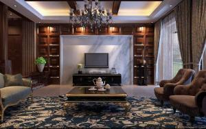 别墅中式客厅背景墙效果图