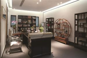 中式小书房书柜素材