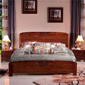 中式实木床雕花床