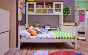 硅藻泥儿童房效果图书柜床