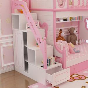 粉色韩式儿童房设计上下床