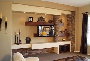 实木书架墙电视书柜一体效果图