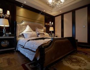 中式实木床与欧式风格混搭