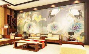 中式背景墙沙发背景