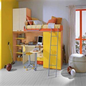 简约少年卧室高低床装修效果图
