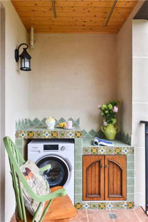 创意装饰洗衣机放阳台效果
