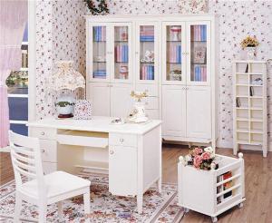 简欧书房装修效果图白色家具