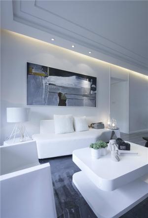 纯白色好看的客厅背景墙