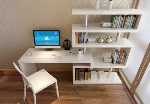 白色家具书桌书柜组合效果图