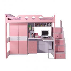 带护栏书桌儿童房设计上下